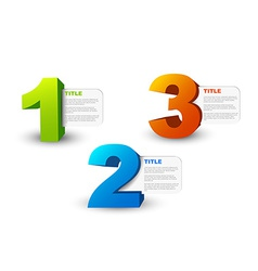 One two three - 3D progress icons vector image vector image