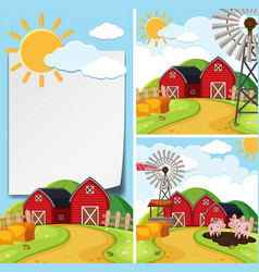 Paper template with barns and pigs vector