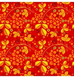 Red seamless pattern in floral folk tradition vector