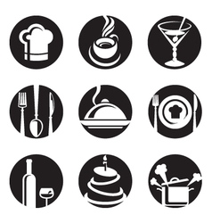 restaurant icon set vector image vector image