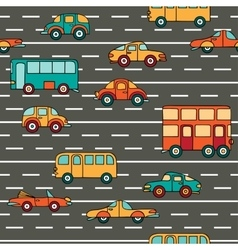 Seamless pattern with cars and buses vector