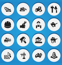 set of 16 editable building icons includes vector image vector image