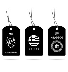 Tag in black with greece elements set two vector