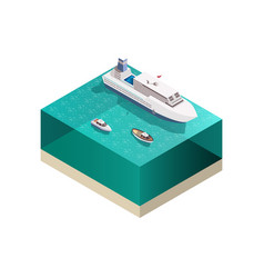 touristic ships isometric composition vector image vector image