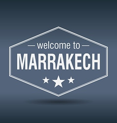 Welcome to marrakech hexagonal white vintage label vector