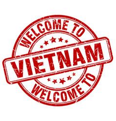 Welcome to vietnam red round vintage stamp vector