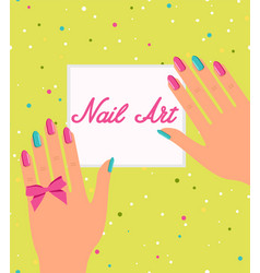 Woman hand with colorful fingernails gift vector
