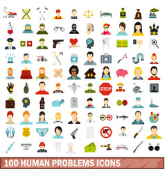 100 human problems icons set flat style vector