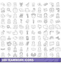 100 teamwork icons set outline style vector