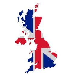 Map and flag of united kingdom vector
