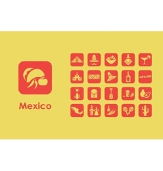 Set of mexico simple icons vector