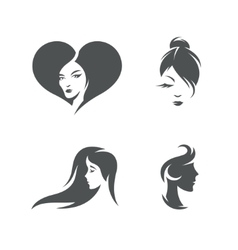 Women faces symbols set vintage vector image