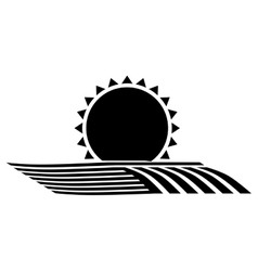 Silhouette monochrome seeding with horizon sun vector