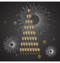 Champagne glass stack festive background vector