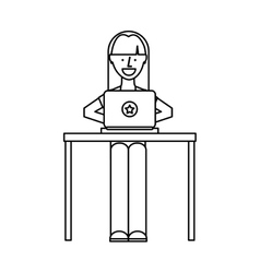 Person using computer icon vector