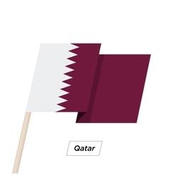 Qatar ribbon waving flag isolated on white vector