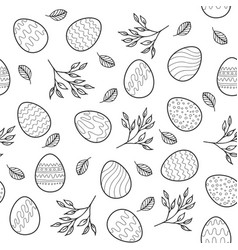 Seamless pattern with easter eggs branches vector