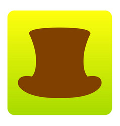 Top hat sign brown icon at green-yellow vector