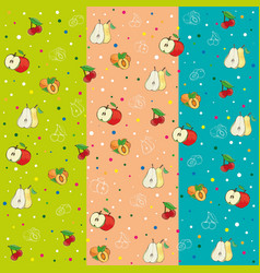 pattern apples pears peaches cherry plum vector image