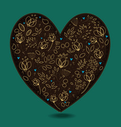 Vintage romantic heart with golden flowers vector