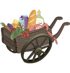 The cart with products cartoon vector
