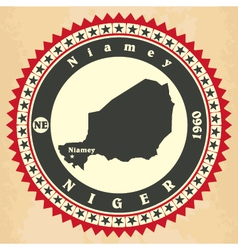 Vintage label-sticker cards of niger vector
