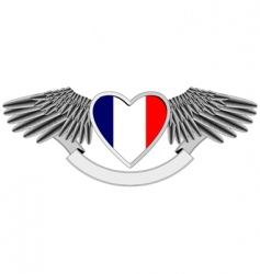 Winged heart with french flag vector