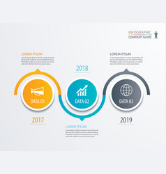 3 circle timeline infographic template business vector