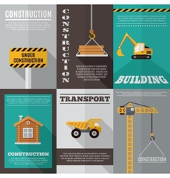 Construction poster set vector