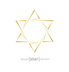 Golden star of david on white background vector