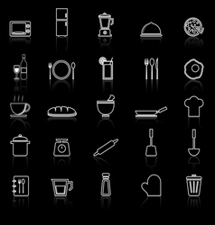 Kitchen line icons with reflect on black vector