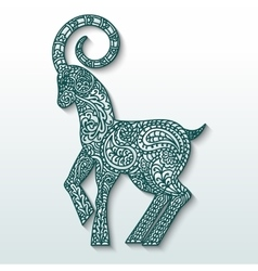White goat of patterned paper - a symbol of new vector