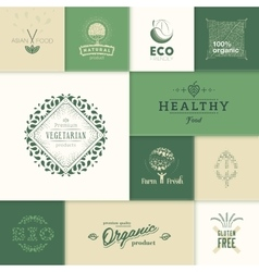 Healthy products logos vector
