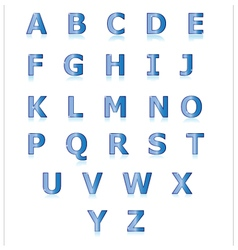 Blue alphabet set a to z vector