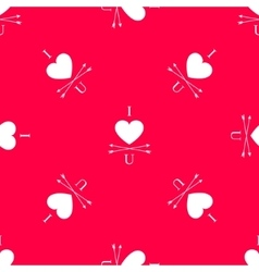 Red i love you seamless pattern with heart vector