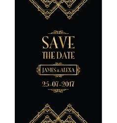 Save the date art deco card vector