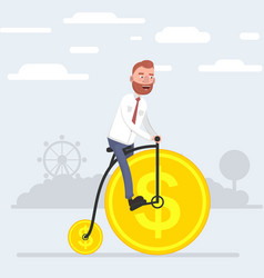 a man riding a bicycle that wheels out of coins vector image