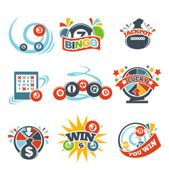 Bingo lotto win icons set of lottery jackpot vector