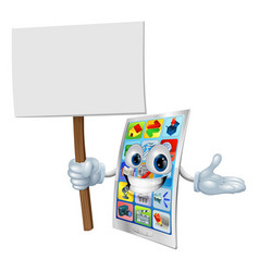 cell phone cartoon character holding sign vector image vector image