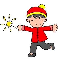 Character of boy with fireworks vector image