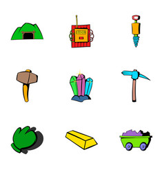 coalpit icons set cartoon style vector image vector image