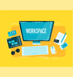 computer workspace concept vector image