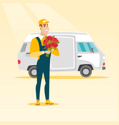 delivery courier holding bouquet of flowers vector image