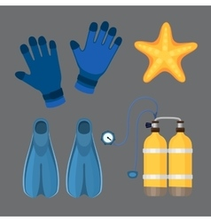Diving suit scuba underwater equipment vector
