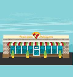facade of pizzeria flat vector image vector image