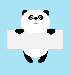 Funny panda bear hanging on paper board template vector