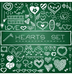 Hand drawn set of hearts and arrows vector image
