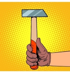 Hand with hammer vector image vector image