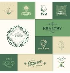 Healthy products logos vector image