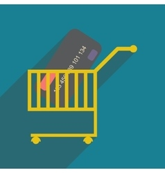 Modern flat icon with shadow bank card in the cart vector